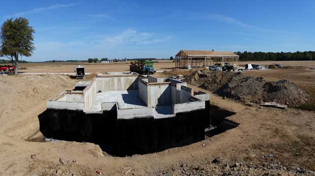 """System Platon holds wet soil 1/4"""" away from the foundation wall providing an air gap for added protection"""